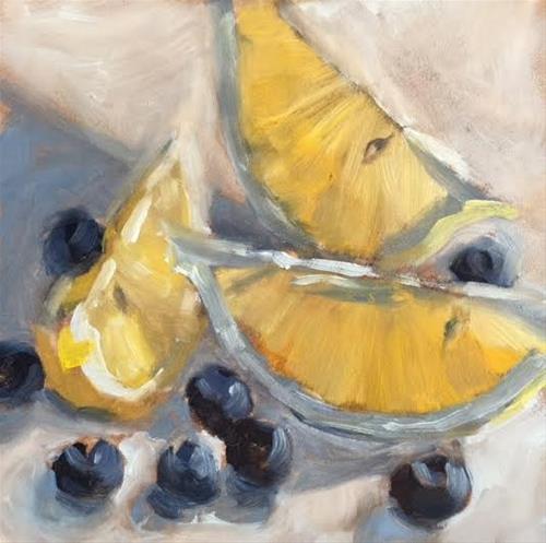 """Lemons and Blueberries 479"" original fine art by Laura  Buxo"