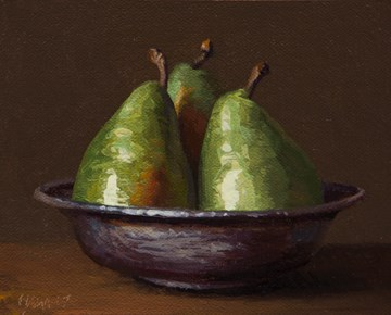 """Three D'Anjou Pears in a Copper Bowl (Separation of Powers)"" original fine art by Abbey Ryan"