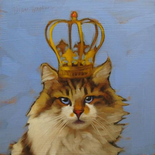"""""""Queen of Cats, character cat no. 4 and why am I painting these?"""" original fine art by Diane Hoeptner"""