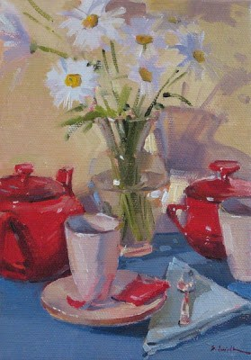 """(sketch for) Suzanne's Daisies"" original fine art by Sarah Sedwick"