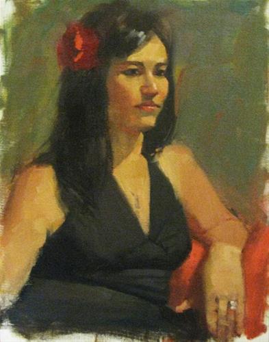 """A flower in her hair"" original fine art by Kathy Weber"