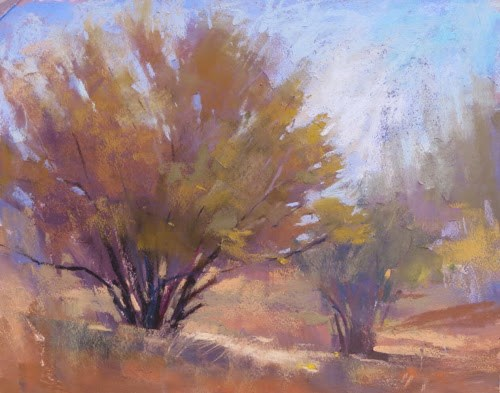 """""""Painting Abiquiu .....Down by the Chama River"""" original fine art by Karen Margulis"""