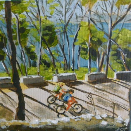 """""""Fahrradfahren auf Mallorca/spain"""" original fine art by Sabine Hüning"""