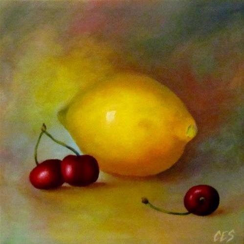 """Lemon and Cherries"" original fine art by ~ces~ Christine E. S. Code"