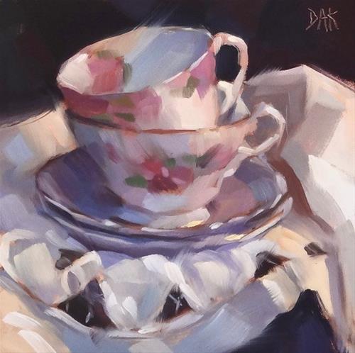 """Tea Cups And Lace"" original fine art by Deborah Ann Kirkeeide"