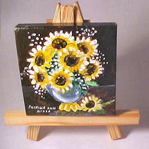 """Sunflower Mini with Easel"" original fine art by Patricia Ann Rizzo"