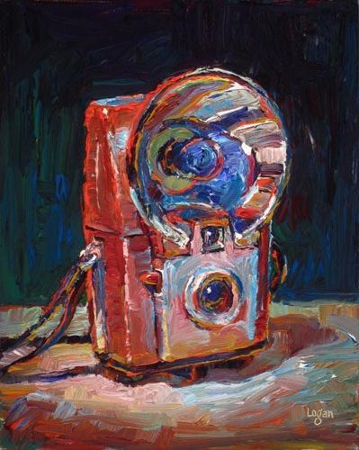 """Kodak Brownie Starflash Camera Red"" original fine art by Raymond Logan"