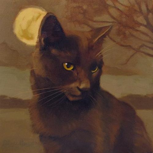 """Brooding Coco when U R a stranger 2 your cat"" original fine art by Diane Hoeptner"