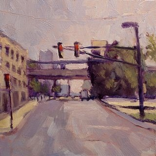 """Train Bridge Downtown Cityscape original oil paintings"" original fine art by Heidi Malott"