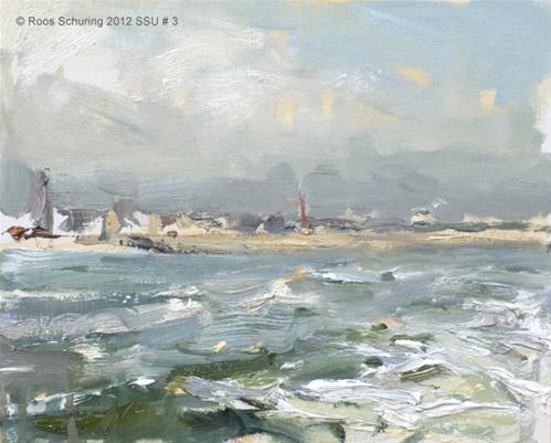 """Seascape summer # 3 Coastal line Scheveningen, passing by"" original fine art by Roos Schuring"
