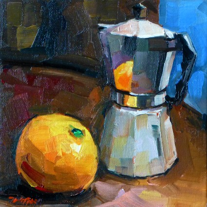 """coffee cooker with orange"" original fine art by Jurij Frey"