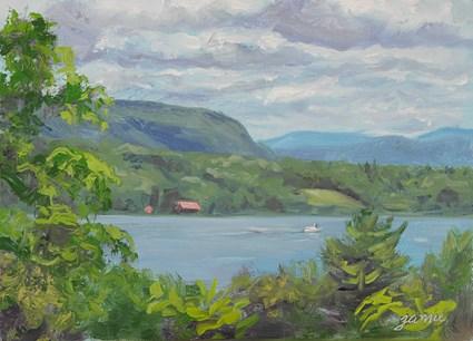 """Little Red Boathouse on the Hudson"" original fine art by Jamie Williams Grossman"