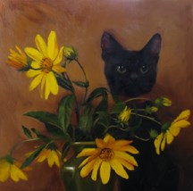 """""""Ebony Stalker, the kitten who fancies herself perfectly invisible"""" original fine art by Diane Hoeptner"""