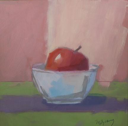 """Large Apple in Bowl"" original fine art by Mitch Egeberg"