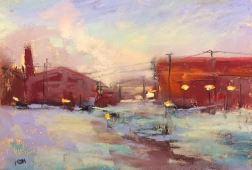 """""""Stranded in Chicago...Polar Vortex Painting"""" original fine art by Karen Margulis"""