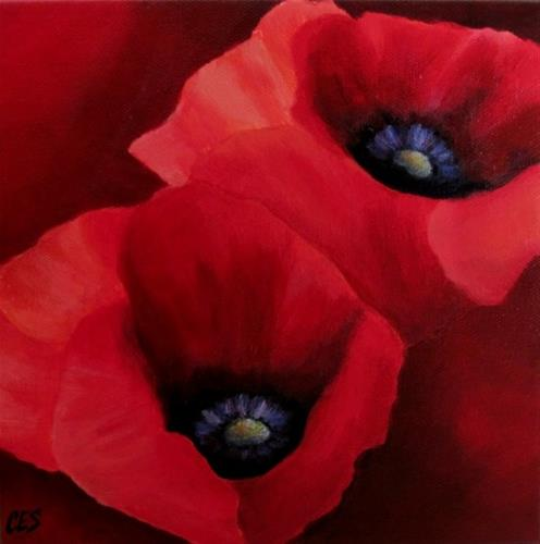 """Red Poppies"" original fine art by ~ces~ Christine E. S. Code"