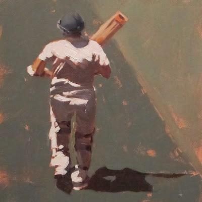 """""""BATSMAN 1 - Cricket at the MCG"""" original fine art by Helen Cooper"""