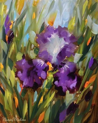 """Sweet Embrace Purple Iris by Texas Flower Artist Nancy Medina"" original fine art by Nancy Medina"