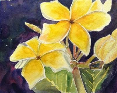 """Day 2 - Sunshine Plumeria"" original fine art by Lyn Gill"