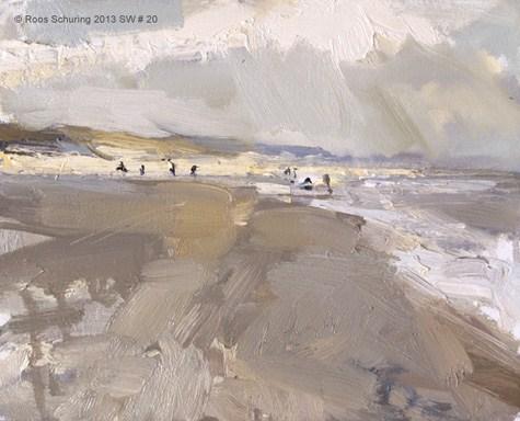 """Seascape winter 20 Happy beach"" original fine art by Roos Schuring"