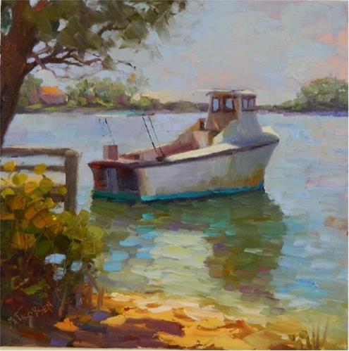 """Cap'n Jake's Crab Boat, plein air, 12x12, oil on board"" original fine art by Maryanne Jacobsen"