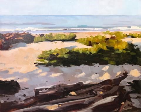 """Carpinteria Beach Campgrounds, Early Morning"" original fine art by Sharon Schock"