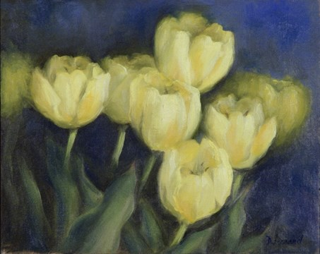 """Golden Tulips #1110"" original fine art by Dee Lessard"