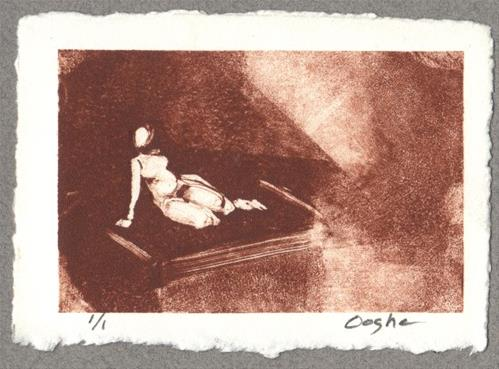 """""""ACEO Reclining Nude Monotypeo,b"""" original fine art by Angela Ooghe"""