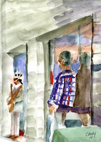 """Free Entertainment"" original fine art by Donna Crosby"