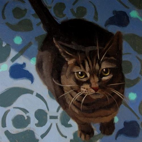 """""""Hungry Layla kitty wants noms feed now"""" original fine art by Diane Hoeptner"""