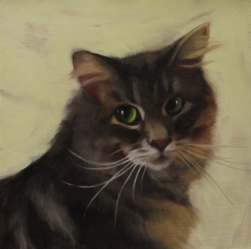 """Small portrait of cat"" original fine art by Diane Hoeptner"