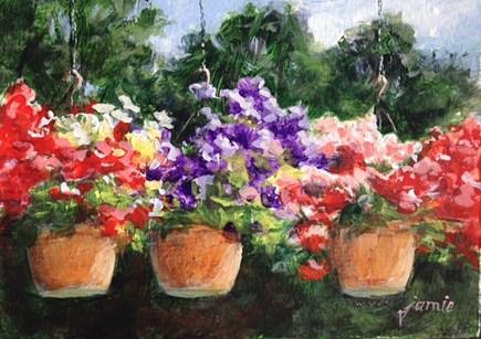 """Flowers on the Patio"" original fine art by Jamie Williams Grossman"