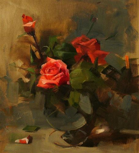 """Roses in Spring"" original fine art by Qiang Huang"