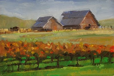 """""""Barns out on Orcutt Road #1"""" original fine art by Raymond Logan"""