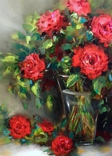 """Stars Reach Red Roses and a Louisiana Workshop - Flower Paintings by Nancy Medina"" original fine art by Nancy Medina"