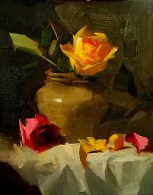 """""""Roses to Elaine --- Sold"""" original fine art by Qiang Huang"""