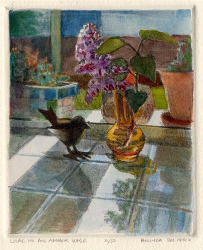 """Etching: Lilacs in an Amber Vase"" original fine art by Belinda Del Pesco"