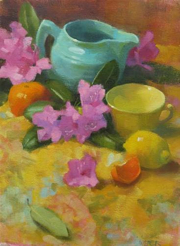 """""""The turquoise pitcher"""" original fine art by Kathy Weber"""
