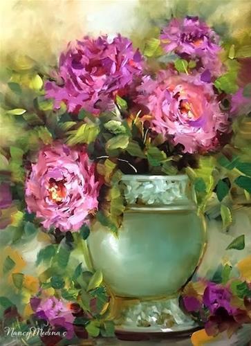 """Pink Flamingo Peonies by Nancy Medina"" original fine art by Nancy Medina"