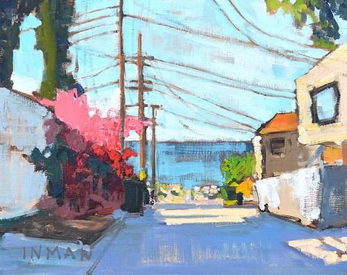 """Ocean Beach Painting, Bougainvillea in the Alley"" original fine art by Kevin Inman"