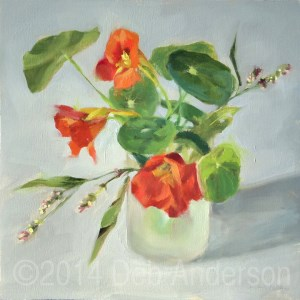 """Oil Painting of Nasturtium with Smartweed"" original fine art by Deb Anderson"