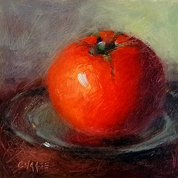 """""""Tomato on Plate"""" original fine art by Cindy Haase"""