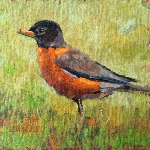 """Red Robin"" original fine art by Deborah Newman"