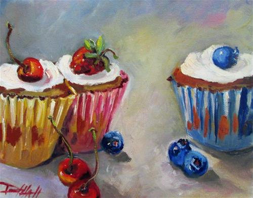 """""""Cupcakes with Fruit"""" original fine art by Delilah Smith"""