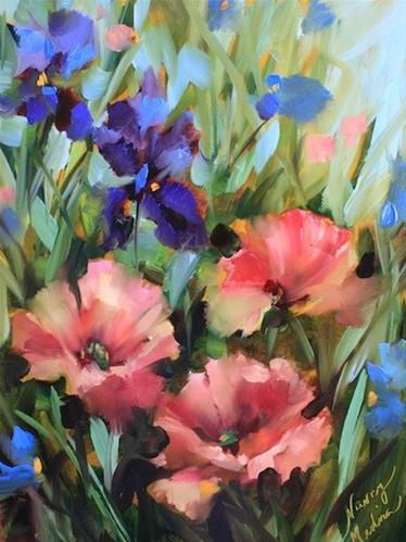 """""""Pink Poppies and the Thing for Which I Shall Be Famous - Flower Paintings by Nancy Medina"""" original fine art by Nancy Medina"""