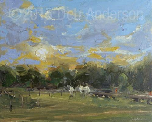 """""""Plein air oil painting: Evening at Wagner Farm"""" original fine art by Deb Anderson"""