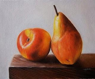 """Nectarine & Pear"" original fine art by Jonathan Aller"