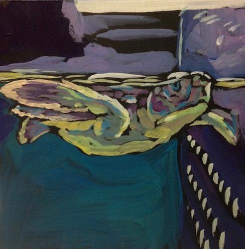 """""""March 30, Baby Sea Turtle"""" original fine art by Kat Corrigan"""