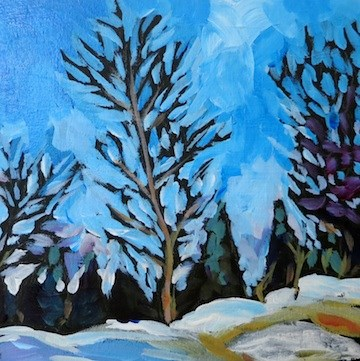 """Roadside Trees #8, Sunset Drive Home from Mom's"" original fine art by Kat Corrigan"