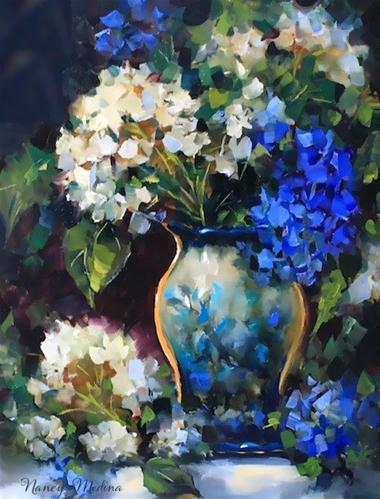 """Blue Ascent Hydrangeas by Texas Flower Artist Nancy Medina"" original fine art by Nancy Medina"